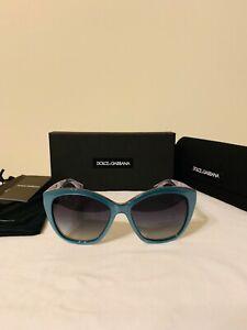 NEW Dolce & Gabbana Sunglasses DG4220 55mm Azure Crystal Frame Gray Lens