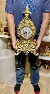 Huge Antique Solid Bronze Fully Restored Mantle Clock
