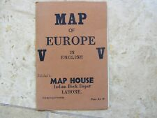 MAP OF EUROPE MAP HOUSE INDIAN BOOK DEPOT 1940