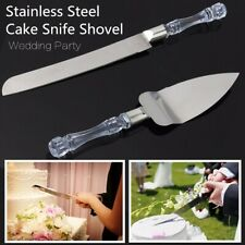Stainless Steel Wedding Cake Knife and Server Acrylic Faux Crystal Handle Set