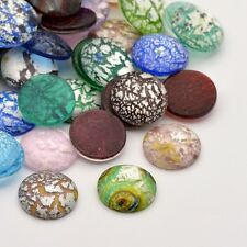 3 hecho a mano de cristal de Murano 20mm Cabujones hoja de plata (CAB1)