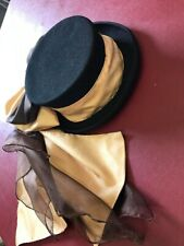 Concours d/'elegance hat bow and drape brown and antique gold