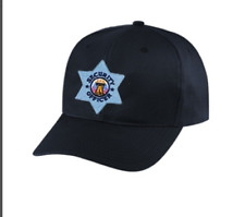 Security hat Silver Star on black cap one size fits all #6720