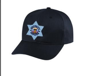 Security Officer Hat Silver Star on black cap one size fits all #6720