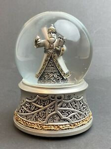 Snow Globe Silver Color Santa with Bell & Present We Wish You A Merry Christmas