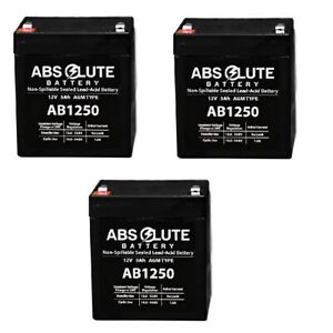 3PK NEW AB1250 12V 5AH SLA Replacement Battery for Clary Corporation DT1500 UPS
