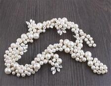 Perlas de Novia Tocado Vestido Estrás Diadema Pedrería Boda Vestido Vid Pelo