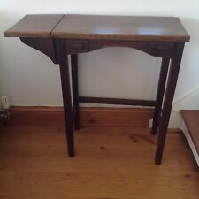ARTS & CRAFTS STYLE ANTIQUE SEWING/SIDE TABLE. Oak topped.