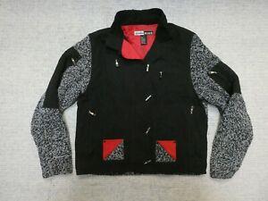 Jamie Sadock women's black/gray/red button-front sweater jacket Sz M