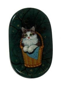 Lovely Kholui Russian Lacquer Box FLUFFY CAT in the Basket #4216