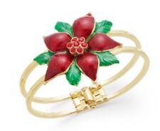 Charter Club Christmas Jewelry Gold-tone Jewel Poinsettia Bangle Bracelet #C235