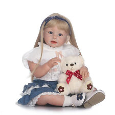 "28"" Silicione Vinyl Reborn Baby Doll Girl Toddler Soft Vinyl Long Hair Doll"