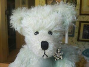 OOAK green mohair Artist Teddy bear, Deb Hines of Teddy Bear Blessings 17in EUC