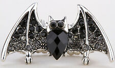 Bat stretch ring halloween jewelry gifts for women girls black silver tone 2Q