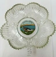 Vintage Lake of the Ozarks Bagnell Dam Painted Cut Glass Ashtray