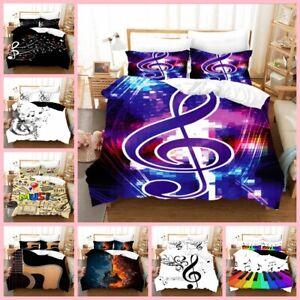 3D Music Note Single/Double/Queen/King Bedding Quilt/Duvet/Doona Cover Set H304
