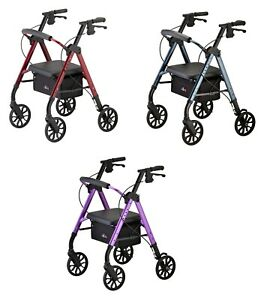 Nova Star 8 Petite Foldable Rolling Mobility Walker Rollator- 3 COLOR CHOICE NEW