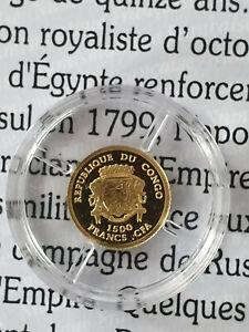 Monnaie OR 999 Napoléon 1 er 1500 francs Congo neuf BE 2007