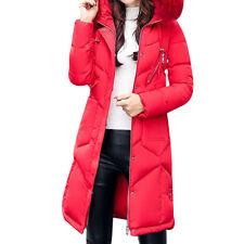 Women Girls Long Fur Collar Hooded Coat Parka Jacket Padded Cotton Warm Outwear