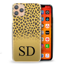 Personalised Initial Phone Case, Yellow Cheetah Hard Cover with Name