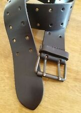 Mango Belt Vintage 90s Retro Brown 100% Leather Womens 100x5 cm  Made In Spain