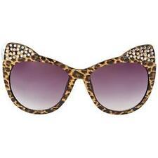 Betsey Johnson KITTEN EARS Cat Eye BLING Sunglasses Leopard Frame/Brown Lens~NEW
