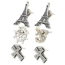 3Pairs/Set Antique Silver Vintage Cross&Tower&Anchor Shape Ear Stud Earring Girl