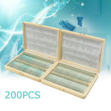 200PCS Prepared Microscope Slides Glass Slide Wooden Box Case Biology Teaching