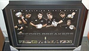 NEW ZEALAND ALL BLACKS RICHIE McCAW & MILS MULIAINA HAND SIGNED RECORD BREAKERS