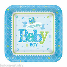 Amscan 541461 18 Cm Welcome Baby Boy Square Paper Plates