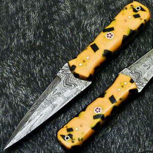 """Authentic CUSTOM HAND FORGED DAMASCUS 8.0"""" DAGGER KNIFE - RESIN HANDLE- PS-230"""