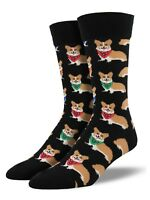 "Socksmith Men's Socks Novelty Crew Cut Socks ""Corgi"" / Choose Your Color!!"