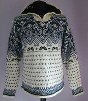 VTG Mens OCK Cream/Blue Lined Acrylic Mix Nordic Style Jumper Size Small (14)