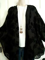 Ryllace NWT Silk Blend Kimono Open Jacket Top Plus 2X Textured Velvet Black