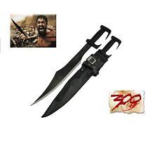 """300 Spartan Sword Black Blade 28.8""""  with Heavy Duty Leather Sheath"""