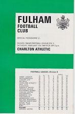 Fulham v Charlton Athletic ~ 15 de febrero de 1969 ~ programa de fútbol