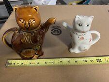 2 Vintage Cat Teapots