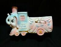 "Vintage Napcoware ""Diaper Express"" Blue/Pink Ceramic Elephant Nursery Planter"
