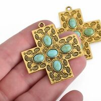 2 Cross Charms, Gold Ox with Turquoise Blue, 43mm, chs3835