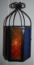 Moroccan style Candle Lamp Pentagon Shape Iron 13x13x31cm