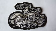 "Patch écusson ""lady biker grise we ride"" harley, moto ;country,biker, usa, lady"