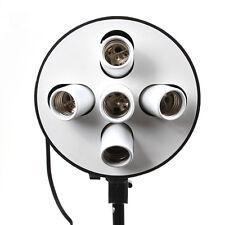 5-IN-1 E27 Ceramic Socket Panel Photo Video Studio Bulb Light Head Holder+Switch