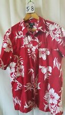 Vintage Men's Hawaiian Shirt Cherokee Size Large 100% Cotton Red w/White Floral
