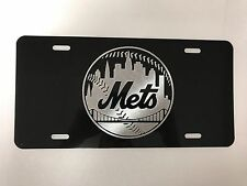 New York Mets Logo Car Tag Diamond Etched on Black Aluminum License Plate