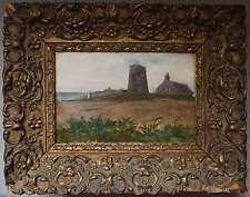 Tableau Bretagne le Moulin abandonné Marine signé - XIX° siècle + cadre