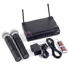 Professional VHF Wireless Cordless Microphone Audio System w Dual Wireless Mic