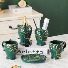 5pcs Bath Accessories Set Soap Dish Dispenser Toothbrush Holder Malachite Green
