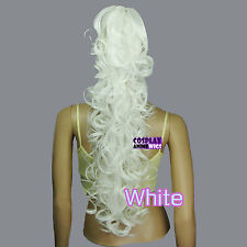 White 60cm Heat Resistant Cosplay Curly Clip-On Ponytails 2_101