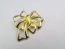 Vintage Gold Tone Large Ribbon Badge Pin Brooch