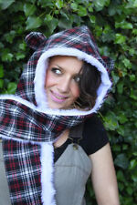 TARTAN BEAR EAR SNOOD HOOD SCARF HAT SCENE GOTH SCENE